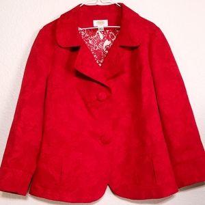 Talbots Women's Red on Red Printed XL Blazer